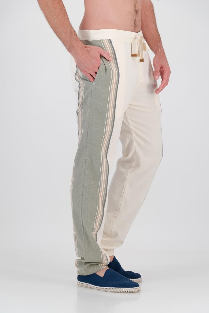 Tailored Fit Trousers - Olive & Cream